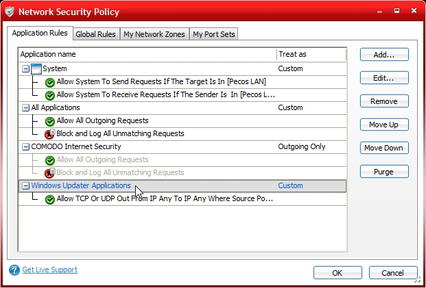 Network Security Rules Before Changes With LAN