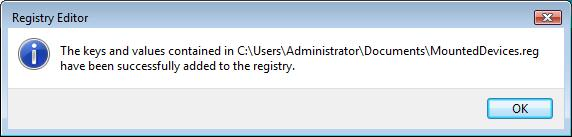 MountdDevices Registry Key Successfully Imported